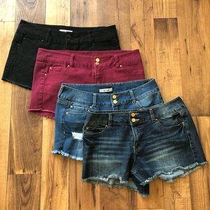 Refuge Denim Shorts Bundle Burgundy, Black, Jean